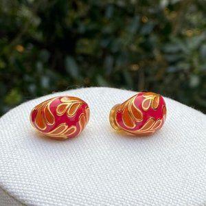 VTG ST. JOHN Enamel Clip Earrings